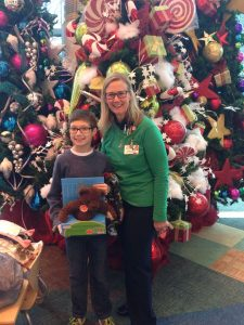 Providing toys and books to children at Levine Children's Hospital - Charlotte, NC