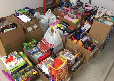 boxes of toys for the hospital
