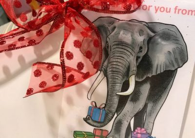 Special gift bag signs created by Levine Children's Hospital